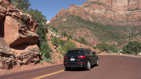 Zion National Park traffic down mountain road 4K 149 Footage