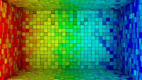 Room of colorful cubes extruding. Seamless loop 3D animation Animation