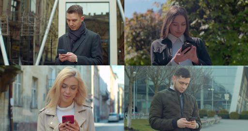 Multiscreen on people using smartphone in everyday life. Nomophobia - People Live Action