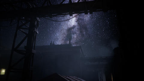 Milky Way stars above abandoned old fatory Live Action