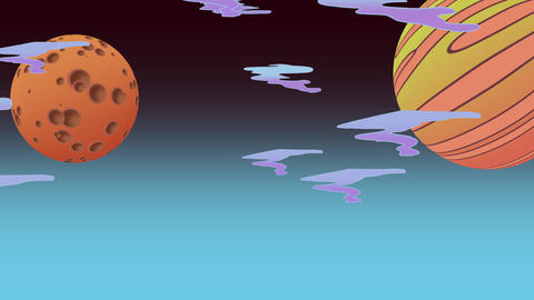 Cartoon animation background with moon in space, abstract backdrop Animation