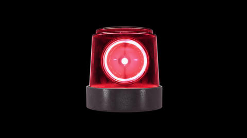 Loop Red warning light with spots and alpha channel Live Action