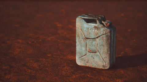 old rusty fuel canister in the desert Live Action