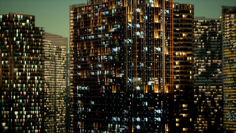Skyscrapper in the business quarter in the night Live Action