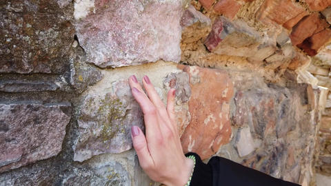 Cropped shot of human hand touching stone wall ライブ動画