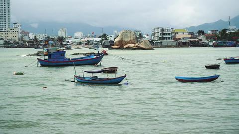 Fishing Boat At Anchor Off Poor Village In Nha Trang Live Action