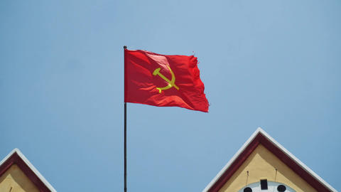 Vietnam flag in front of Dalat. Vietnam flag flying on a flag pole Live Action