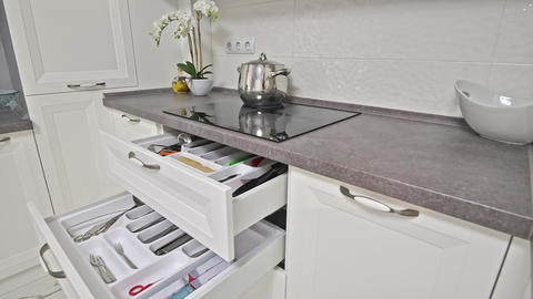 Some details of modern white wooden kitchen Live Action