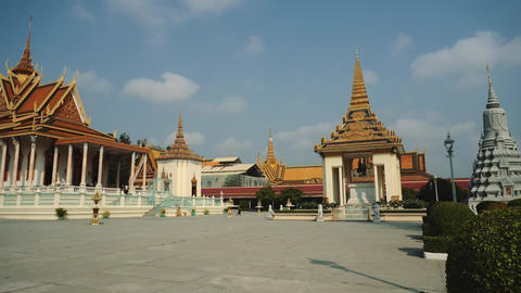 Exterior Of The Royal Palace In The Phnom Penh, Cambodia, Asia Live Action