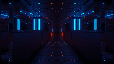 tunnel corridor with beautiful neon glow and cool reflections 3d rendering Animation