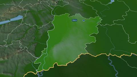 Bács-Kiskun - county of Hungary. Physical Animation
