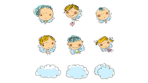 beautiful scene with six baby angels floating in two rows with their tiny wings above three clouds Animation