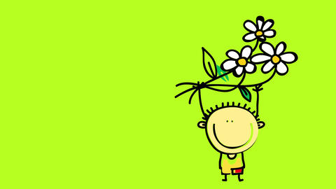 young boy in love holding a bouquet of daisies over his head to give to his girlfriend on valentines Animation