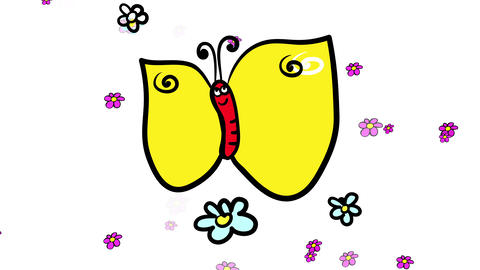 floral wallpaper desktop design with insect wildlife with a butterfly prowling around a meadow full Animation