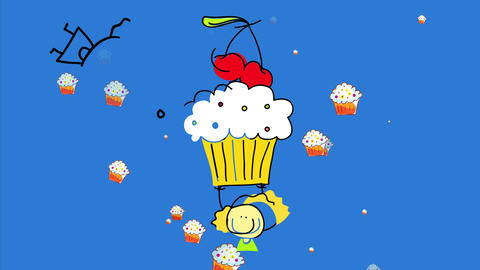 girl with cravings for sweets raising her arms in the air to catch a huge cupcake with cream and Animation