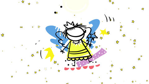energetic young girl with an improvised angel costume with wings and stars floating in the Animation