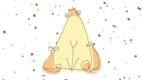 charming drawing of a female cat with her two kittens hiding behind her with stars fading in the Animation