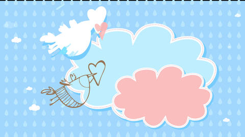 greeting card design for new born or young lovers declaration letter with a bird flying over moving Animation