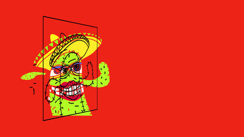 female cactus full of thorns and perfect shiny smile wearing a wide brimmed hat from mexico Animation