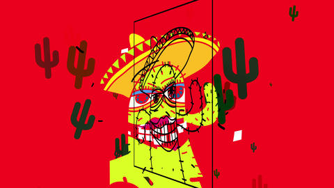 crazy sketchy picture of a cactus with female features and mexican sombrero with joyful attitude and Animation