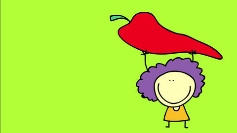 happy young woman selling the biggest red pepper that grew on her farm holding it up high so that Animation