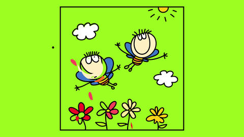 cute scene inside a frame with happy bees with the bodies of two kids flying over a garden with Animation