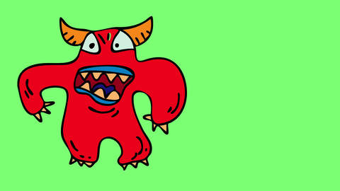 bulky red devil with the appearance of a monster with huge yellow fangs and claws in a position that Animation