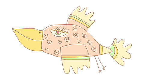 beautiful female bird with spiral designs on her plumage flying lightly with a face full of Animation