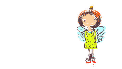 tall young woman wearing a fairy costume over her hippie clothes standing with her hands behind her Animation