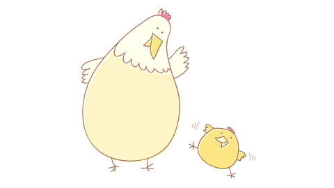 yellow laying hen looking after her cute newborn fluffy baby chicken to protect it before it falls Animation