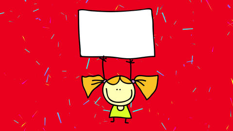 young girl lifting a blank poster above her head on a confetti rain suggesting she wants to write a Animation