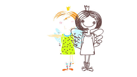 old fashioned drawing of a pretty adolescent girl wearing wings over her dress and a crown on her Animation