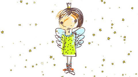 shy young girl wearing green dress butterfly wings a crown and colorful socks standing on a starry Animation