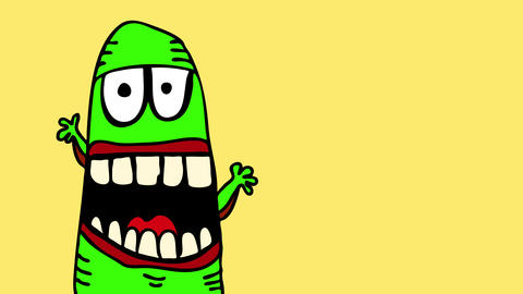 green fluorescent monster with an elongated body acting funny in front of the camera with human Animation