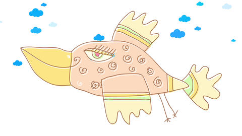 attractive female bird flying free on a cloudy sky with joyful attitude moving her asymmetric wings Animation