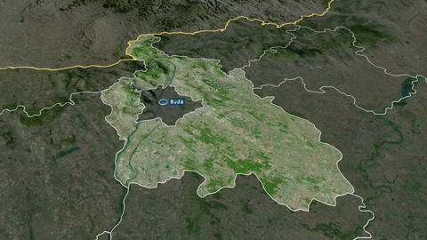 Pest - county of Hungary. Satellite Animation