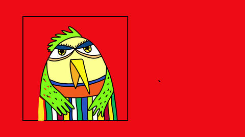 bird with fluffy feathers of many vivid colors isolated on left side of screen and framed suggesting Animation