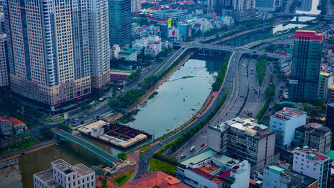 A timelapse ofcityscape in Ho Chi Minh high angle Live Action