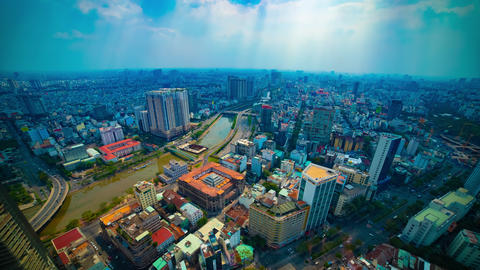 A timelapse of panoramic cityscape in Ho Chi Minh high angle wide shot tilt Live Action