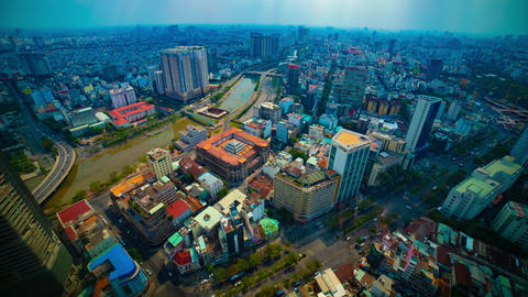 A timelapse of panoramic cityscape in Ho Chi Minh high angle wide shot Live Action