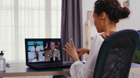 Woman having a conversation during a video call Live Action