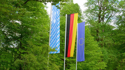 Bavarian, German and European flag Live Action