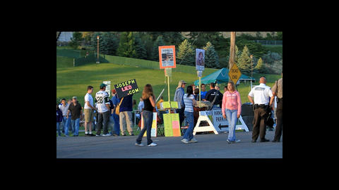 Protestors and visitors to Mormon church event P HD 0974 Footage