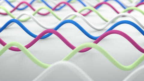 Wavy lines abstract 3D render animation seamless loop CG動画