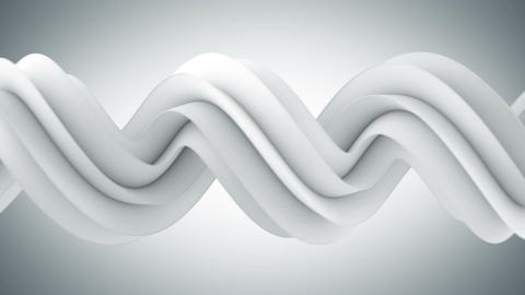 White twisted 3D shape spinning seamless loop Animation