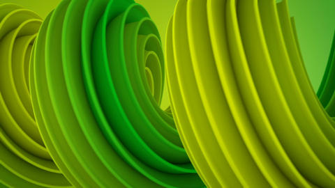 Yellow green twisted 3D shape spinning seamless loop Animation