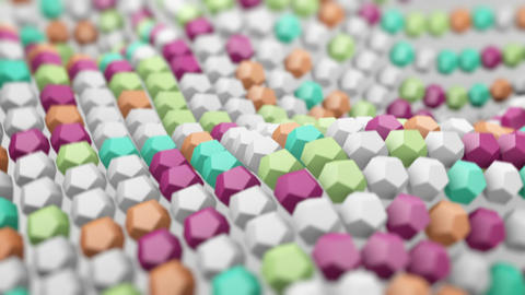 Waving surface of colorful polygons. 3D render loopable Animation