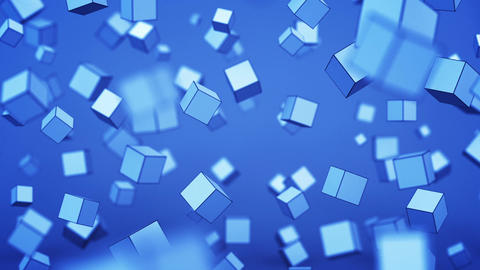 Chaotic blue cubes with shallow DOF 3D animation Animation