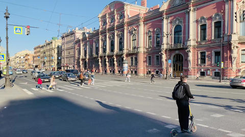 Russia, St.Petersburg, 02 June 2020: The architecture of Nevsky Prospect at Live Action