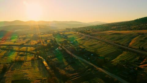 aerial view on countryside scene in sundown ライブ動画